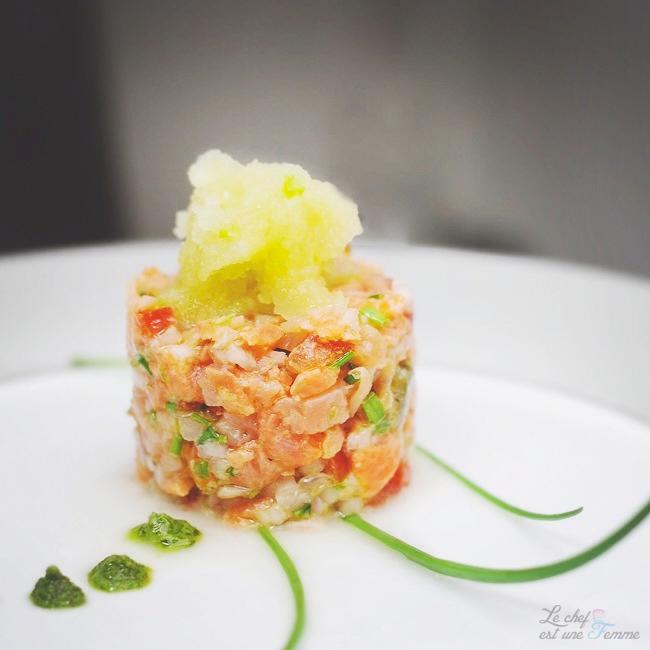 Tartare saumon et thé vert